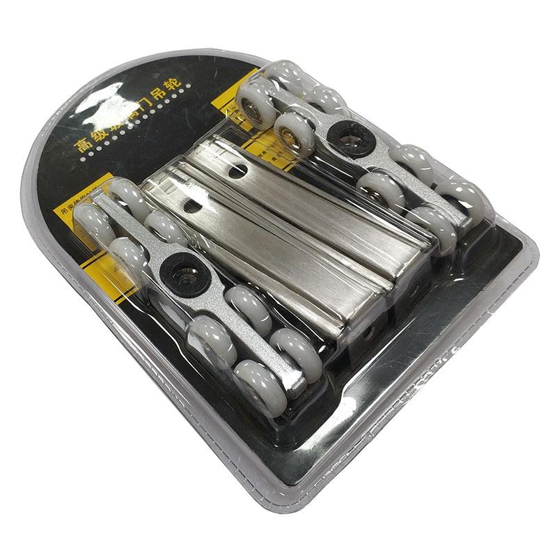 1 Set 2 PCS Stainless Steel Wooden Door 8 Nylon Wheels  Sliding Door Mute Pulley Door Rollers Parts Wheel Furniture