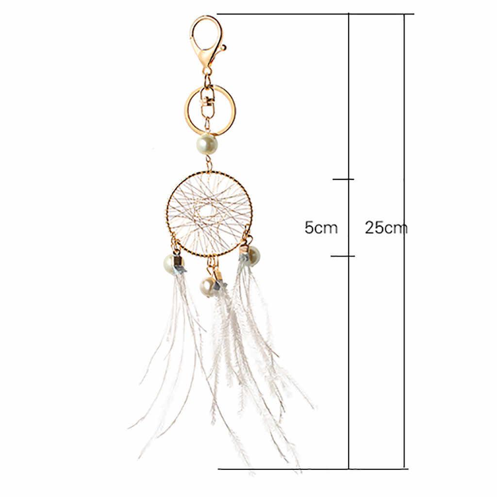 Regalo cuentas rosadas negras atrapasueños de plumas campanas de viento atrapasueños encantos llavero para bolso mujer Vintage estilo indio llavero