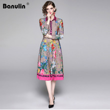 Banulin Runway Autumn Dress 2020 Summer Spring New Fashion Luxury Vintage Flower Letter Printed Midi Women Holiday Dresses