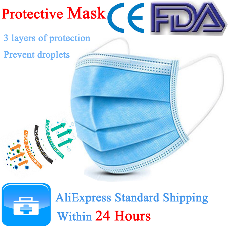Protection Masks Anti-Pollution 3 Laye Mask Dust Disposable Face Masks Elastic Ear Loop Disposable Dust Filter Safety
