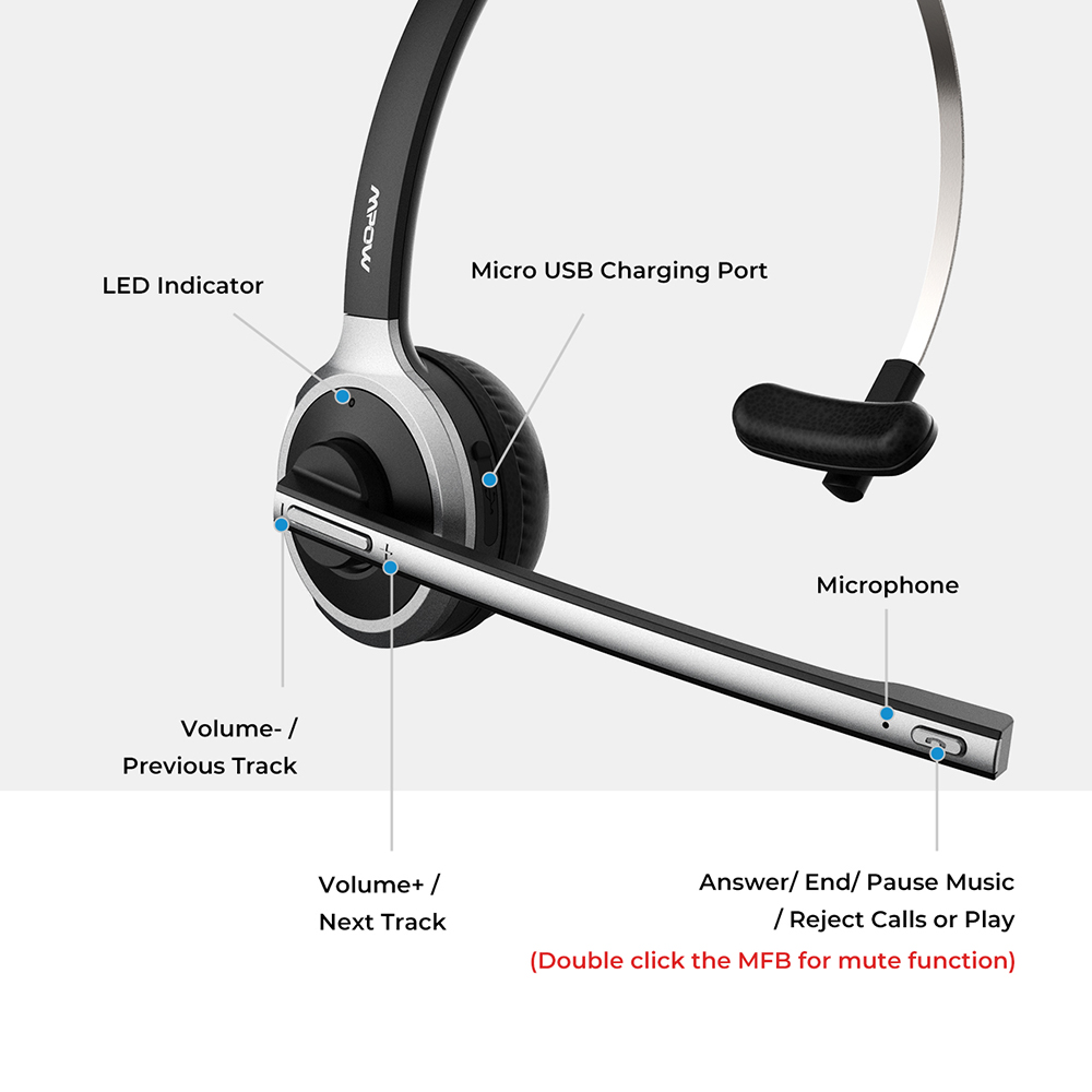 Mpow M5 Bluetooth 4 1 Headset Wireless Over Head Noise