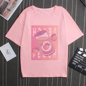 Розовая серия, клубника, вапорволна, молочный рисунок, летние модные повседневные топы в Корейском стиле для девочек, Забавные топы с коротк...