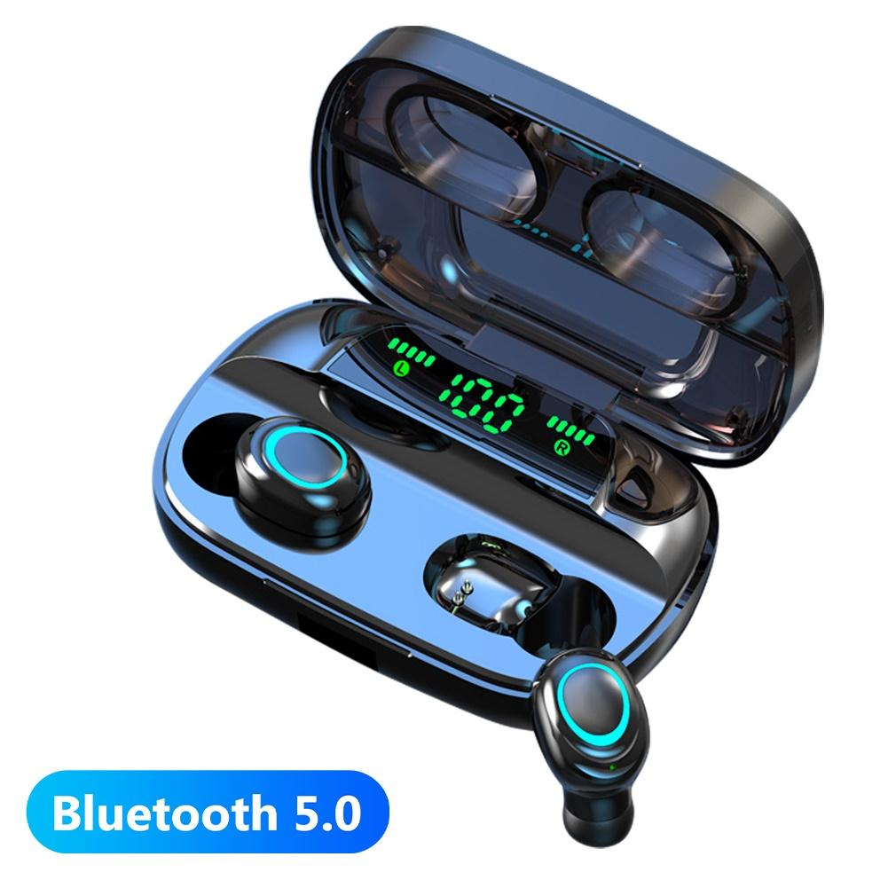 Mini <font><b>TWS</b></font> Bluetooth 5.0 Stereo Wireless Earphones Sport Bass Headset With Led Power Display Charger Case For All Phone image