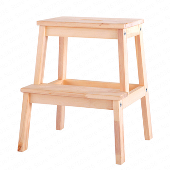 Living Room Solid Wood Shoes Bench Children Wash Step Ladder Home Kitchen Step Stool Pine Woond Two Step Laddar 2 Colors