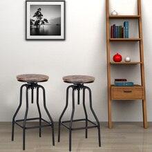 IKayaa 椅子産業スタイル高さ調節可能なスイベルバースツール天然パインウッドトップキッチンダイニング朝食チェア家庭用