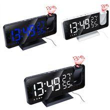 Dijital alarmlı saat saat projeksiyon radyo sıcaklık nem süresi gece ekran ayna LED saat USB çıkış portları masa saati