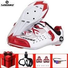 SIDEBIKE/Обувь для шоссейного велоспорта; комплект с педалью; мужские кроссовки; женская обувь для езды на велосипеде; обувь с самоблокирующимся замком; профессиональная обувь с замком