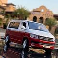 1:32 цинковый сплав автобус Volkswagen Multivan T6 Ван сплав игрушечный автомобиль литой MPV Субару Outback модель автомобиля звук и светильник тянуть обрат...