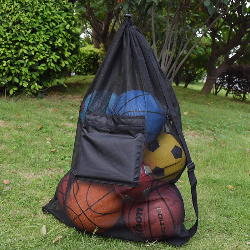 Heavy Duty Mesh Ball Bag Adjustable Sliding Drawstring Drawstring Sport Equipment Storage Bag For Basketball Soccer Sports Beach