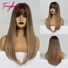 Крошечная Лана длинные Омбре коричневые светлые парики с челкой
