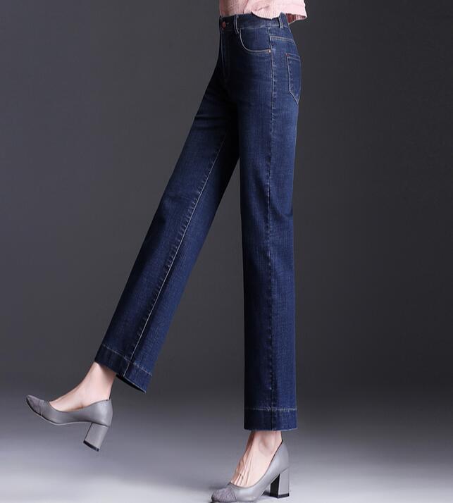 2019 Autumn New Straight Jeans Women's Stretch High Waist Loose Large Size Plus Fat Long Pants KJE31-01-20