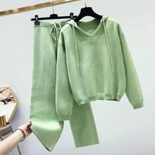 เสื้อกันหนาวชุดสูทหญิงฤดูใบไม้ร่วงฤดูหนาวผู้หญิง Hooded Pullover เสื้อกันหนาวและกางเกงถัก 2 ชิ้นดึง Femme Casual เสื้อกันหนาว C5793