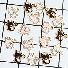 10 stks/partij Legering Leuke Kleine Kat Hanger Knoppen Ornamenten Sieraden Oorbellen Choker Haar DIY Opknoping Sieraden Accessoires