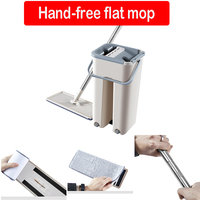Flat Squeeze Automatic Mop And Bucket Free Hand Washing Flat Mop Microfiber Cleaning Cloth Kitchen Wooden Floor Mop D20
