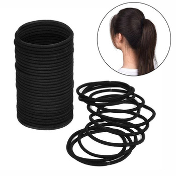 20 Pcs/Pack Seamless High Elastic Hair Bands 4.8cm Simple Black Rubber Band Scrunchies Hair Ties Gun Women Ponytail Holder Ropes image