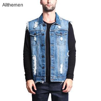 Allthemen Men's Ripped Denim Vest Jean Jacket Men's Denim Vest Hip Hop Jean Coats Waistcoat Men Cowboy Sleeveless Jacket wrangler men s tall george strait cowboy cut slim fit jean