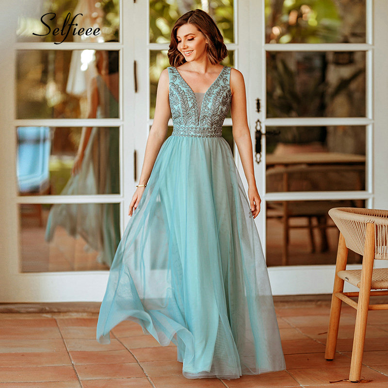Elegant Women Dress A-Line Beaded Double V-Neck Sleeveless Tulle Maxi Dress Sexy Embroidered Long Party Dress Vestidos 2020 1