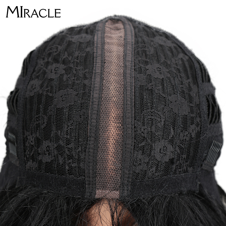 "Image 4 - Miracle Hair Ombre Wig Kinky Curly Deep Middle Part Lace Wigs 150 Density Long 28"" Heat Resistant Synthetic Wigs For Black Women-in Synthetic None-Lace  Wigs from Hair Extensions & Wigs"
