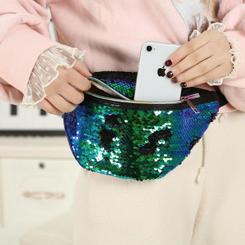 Women Travel Waist Bags Fanny Pack Holiday Money Belt Bag Wallet Glitter Bum Bag Pouch /BY