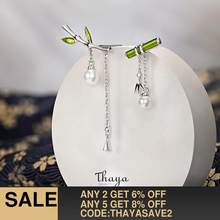 Thaya Real S925 Sterling Silver Earring Green Bamboo Earring Dangle With Pearl Retro Style For Women Silver Earring Fine Jewelry(China)