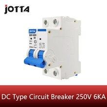 Mini disjoncteur pour installation solaire, 2 pièces, cc 250V, 6a, 10a, 16a, 20a, 25a, 32a, 40a, 50a, 63a, cc MCB, pour système PV