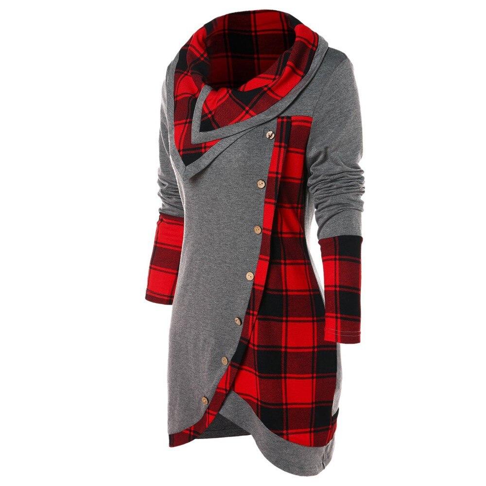 Blouse Women Long Sleeve Irregular Hem Plaid Button Turtleneck Tartan Tunic Pullover Tops 2019 Shirt Tops Blusas Feminina d5 on AliExpress