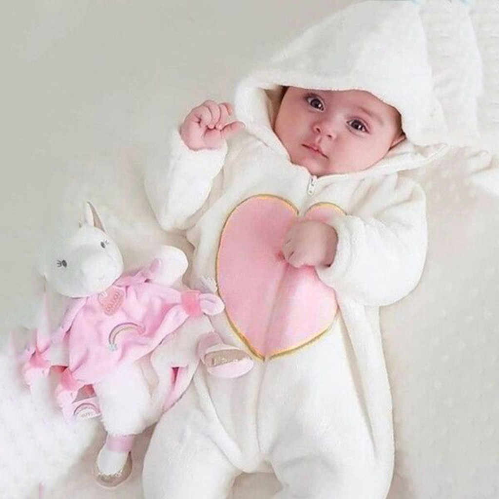 Winter Fleece Baby Rompers Long Sleeve Newborn Coat Jumpsuit Baby Clothes Boy Girl Clothing Soft Infant New Born Warm Rompers