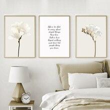 Magnolia rosa peônia flor arte da parede da lona pintura nordic posters e cópias vida citações quadros de parede para sala estar decoração