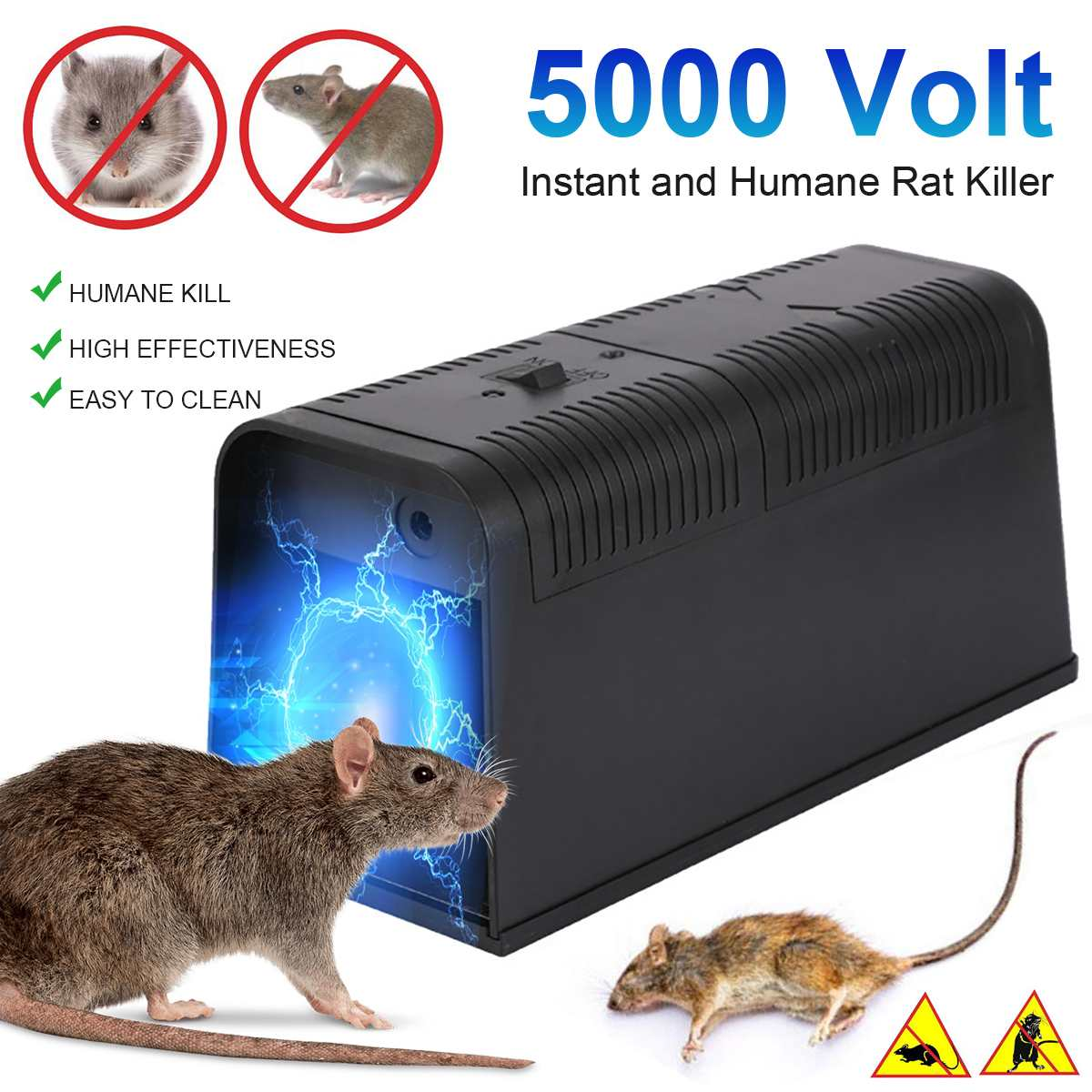 5000V Working Voltage Electric Rat Trap Mice Mouse Rodent Killer Electric Shock Voltage Adapter Home Use Rodent Pest Control
