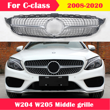 For Mercedes-Benz C-class W204 W205 Modified middle grille ABS plastic Diamond GT style front grill vertical bar 2008-2020 w447 vito diamonds style front grille grill fit for mercedesmb v class abs black sport without sign v260 v250 look grills 16 19