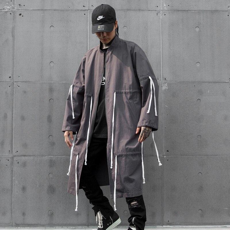 Long Windbreaker Jacket Cardigan Overcoat Streetwear Male Loose Hip-Hop-Drawstring-Design