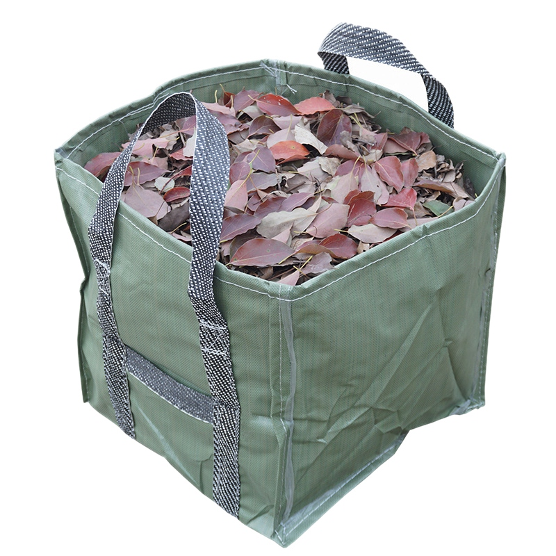Garden Lawn Leaf Bags Yard Waste Bag Clean Up Tarp Container Tote Gardening Trash Reusable Heavy Duty PP Fabric