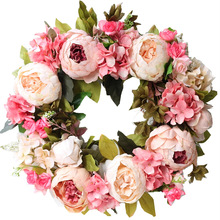 Peony simulated garland Rattan ring decoration Photography props Wedding wreath Flower home door Decoration