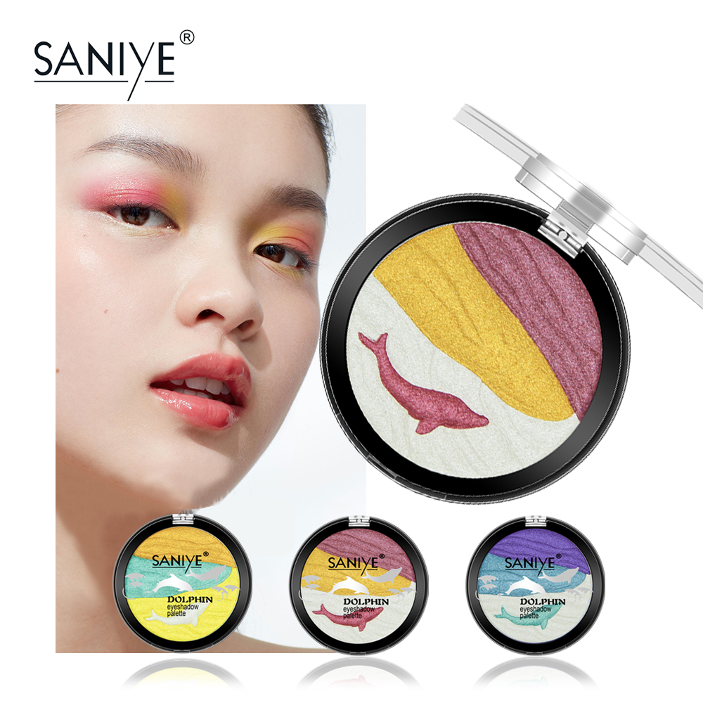 SANIYE Cute Shining Eyeshadow Palette Waterproof Eye Paleta Cieni Glitter Palette Makeup Powder Cosmetics Beauty Dolphin E0139