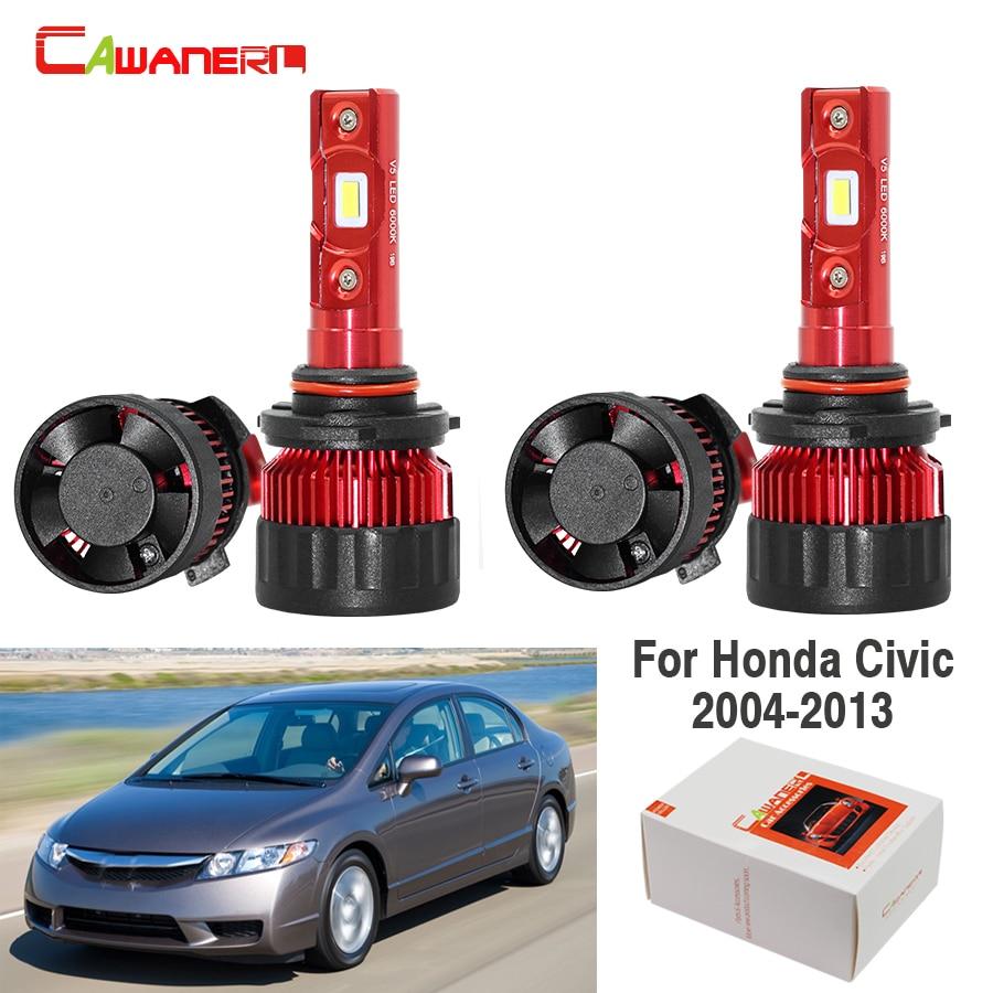 Cawanerl 4 шт. Автомобильный светодиодный светильник, головной светильник дальнего и ближнего света 9005 9006 9000LM белый 6000K 60W 12V для Honda Civic 2004 2013