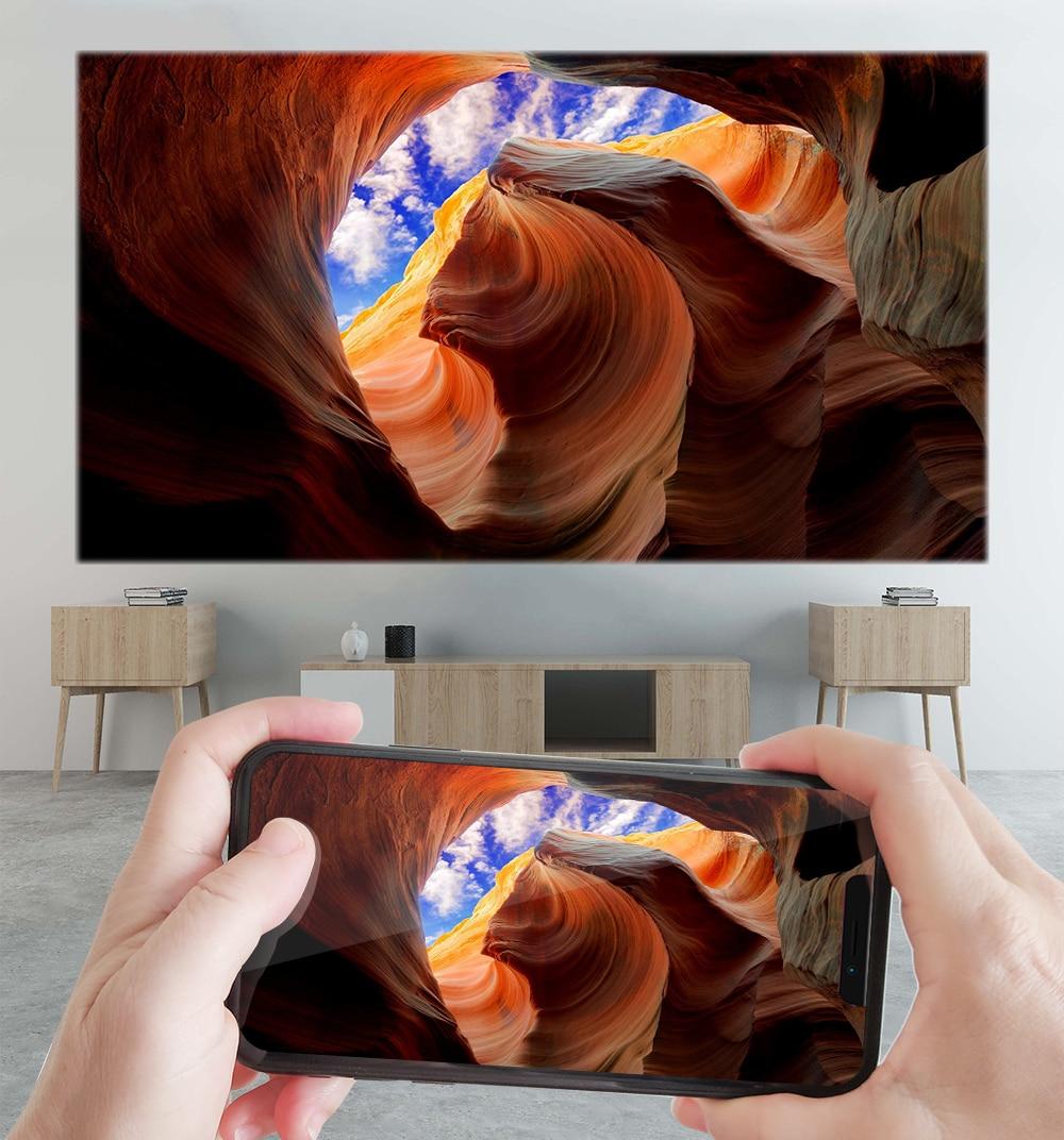 Alston c6 mini 4k dlp android 9.0 projetor wifi bluetooth 4.0 portátil ao ar livre filme de vídeo cinema em casa apoio miracast airplay-3