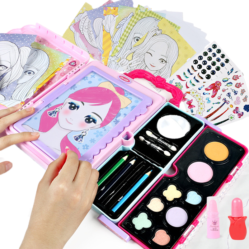 Kids Makeup Drawing Toys Multi-function Handle LED Painting Colorful Make Up Cosmetics Suitcase Toy Drawing Board For Girls Gift