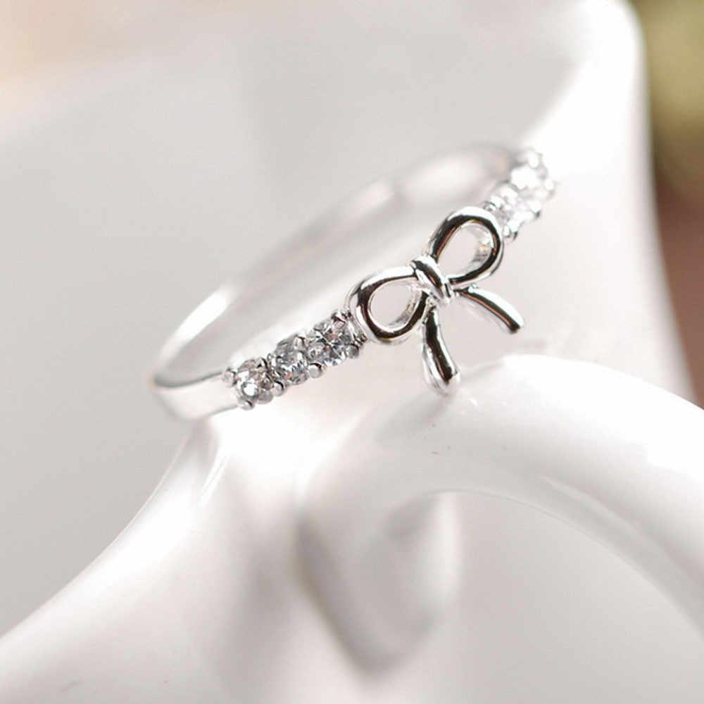Busur Cincin Mewah Merek Aksesoris Wanita Fashion Korea Perhiasan Sederhana Busur Kristal Cincin Moda Mujer 2019 Anillos Mujer Кольцо