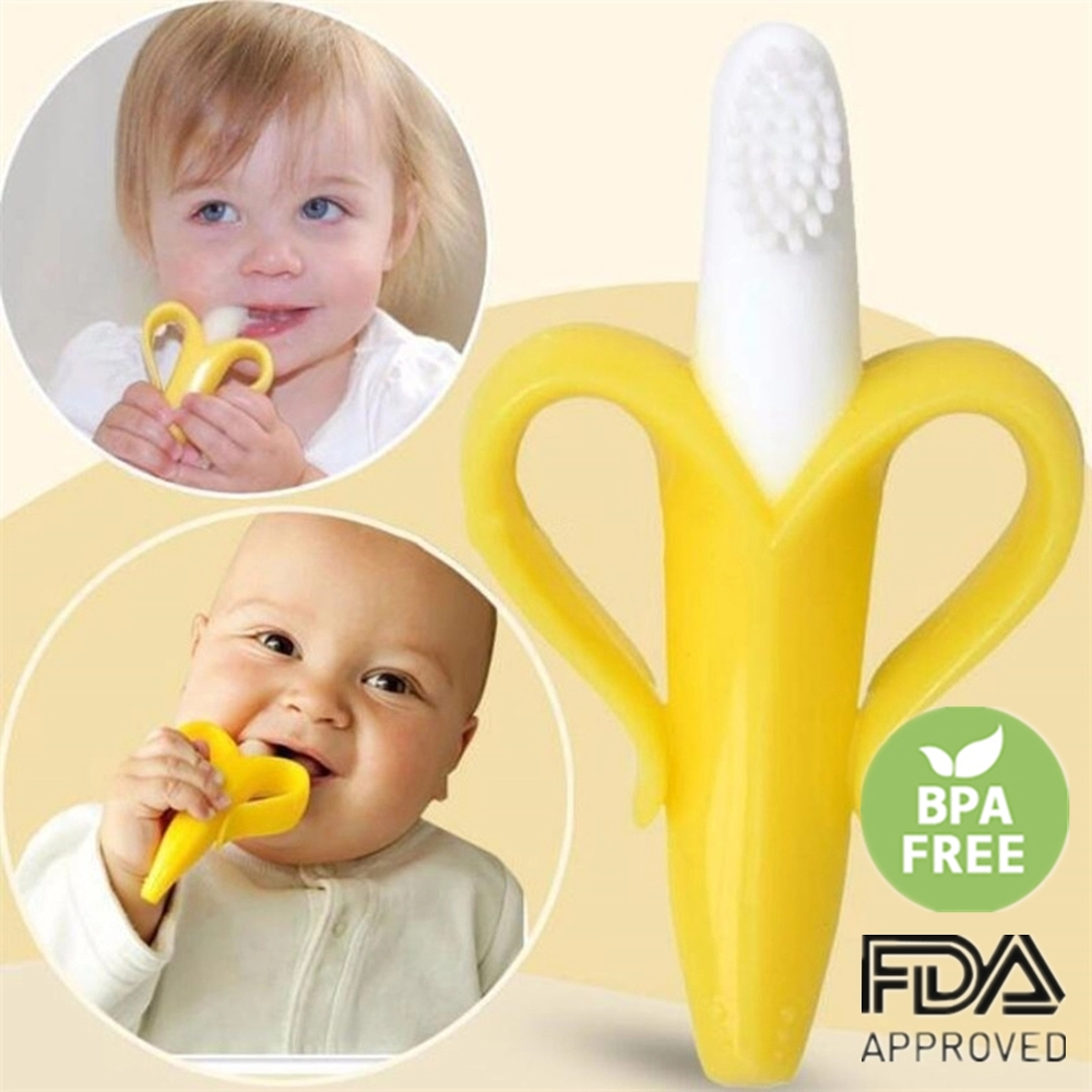Baby Teether Toys Toddle Safe BPA Free Banana Teething Ring Silicone Chew Dental Care Toothbrush Nursing Beads Gift For Infant(China)