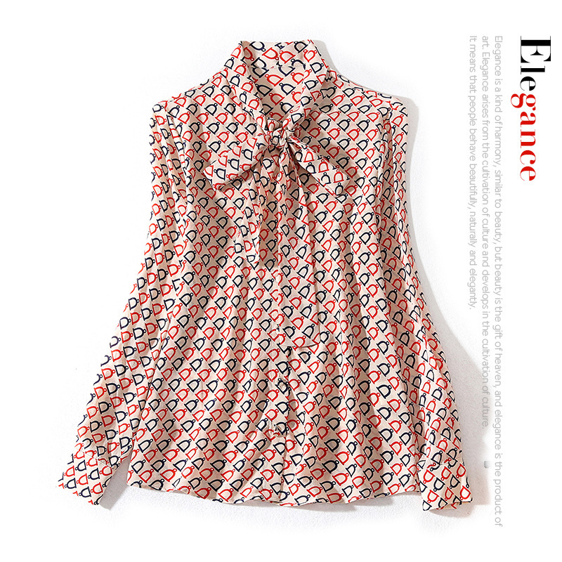 New Style Neckline Tie Bow Bell Print Long Sleeve Single Breasted Loose Silk Shirt Top For Women