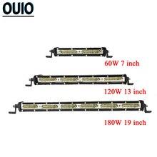 цена на 60W 120W 180W Single Row Led Light Bar Straight Driving Lamp Offroad LED Work Light Bar 4X4 ATV Tractor Combo Beam Car Light 12V