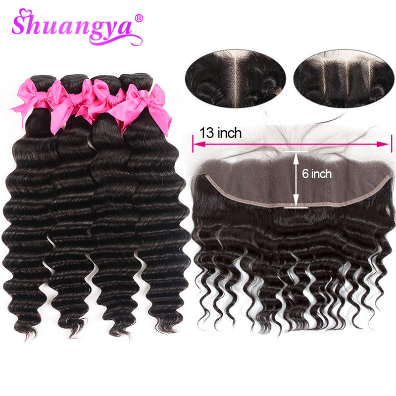 Shuangya Hair 13x6 Lace Frontal Closure With Bundles Brazilian Deep Wave Bundles With Frontal Remy Hair Frontal With Bundles