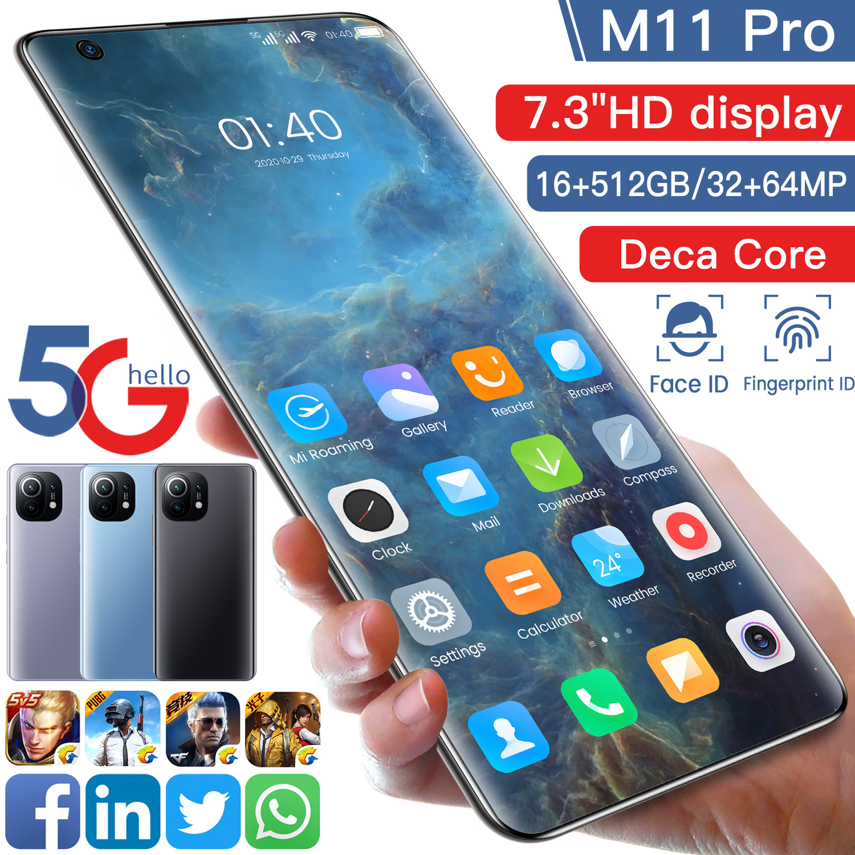 M11 Pro смартфон 16G Оперативная память 512G Встроенная память Deca Core, размер экрана 5G сетевой отпечаток пальца ID Face ID 7,3 дюймов HD Экран глобальная В...
