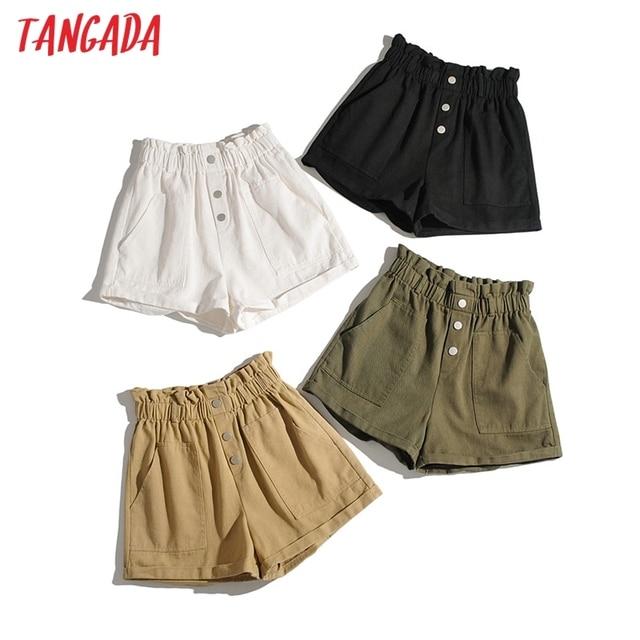 Tangada Women Cotton Shorts High Waist Buttons Pockets Female Retro Basic Casual Shorts Pantalones 1M2 1
