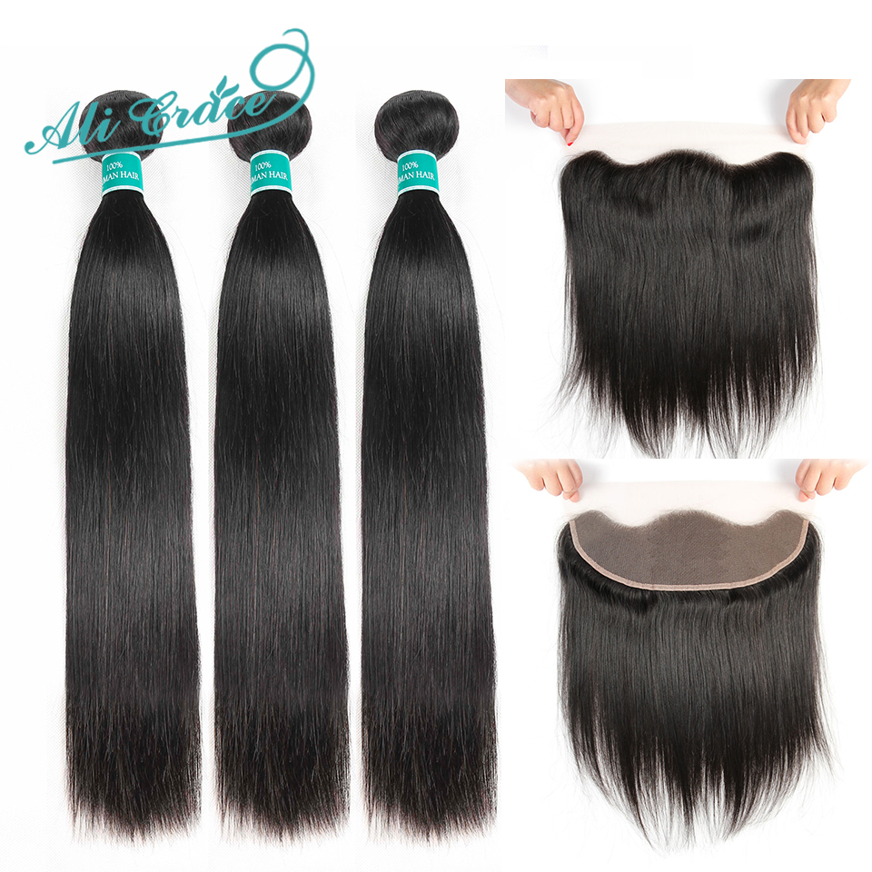 H619c7dbc69764ae3bbc03c985cec9cfeX Ali Grace Straight Hair Bundles With Frontal 13*4 Medium Brown Lace Color Remy Brazilian Human Hair Bundles With Frontal