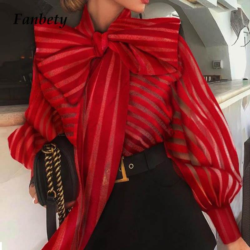 Office Lady Bow Tie Blouse Shirts Women Autumn Dot Print Lantern Sleeves Blusa Tops Elegant Winter Sweet Blouses Dropshipping