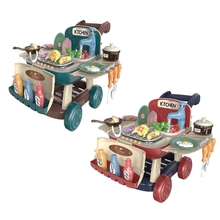 2 in 1 Kids Barbecue Cart Toy Girl Kitchen Supermarket Hand Cart Baby Pretend Play Toy Gift Simulation Kitchen Toys