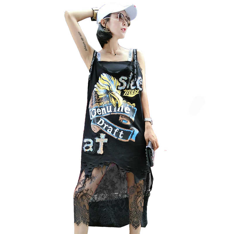 QING MO Women Lace Sleeveless Dress 2019 Summer Eagle Printing Dress Women Paillette Split Letter Straps Dress QF511