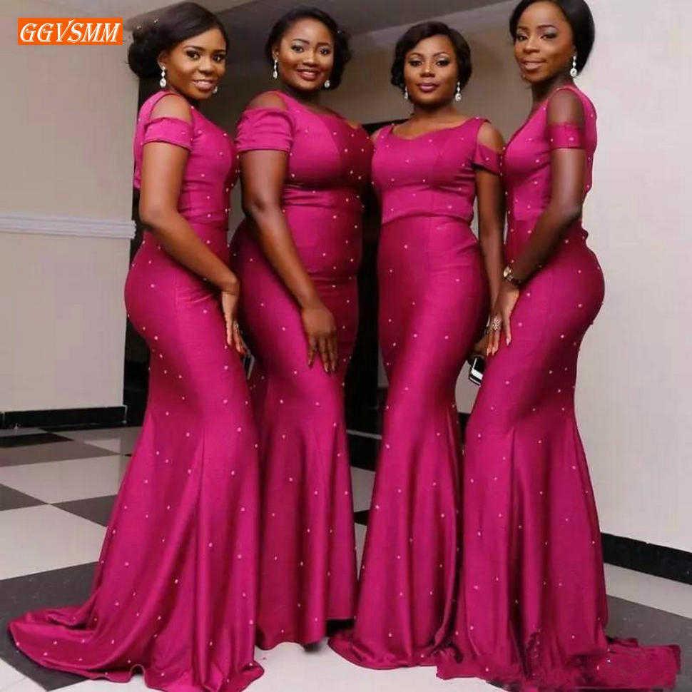 Noble Fuchsia Mermaid Bridesmaid Dresses Long Elastic Satin Pearl Wedding Guest Dress African Women Customized Bridesmaids Gowns Aliexpress,Wedding Dress Shops In Nj
