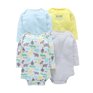 Image 3 - ארוך שרוול בגד גוף לתינוק ילד יוניסקס חדש נולד גוף חליפת תינוקת בגדי 4 יח\סט כותנה יילוד bodysuits 2020 אופנה